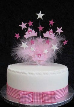 Princess Crown Birthday Cake Topper With Marabou Feathers Suitable For A 20cm Cake: Amazon.co.uk: Kitchen & Home
