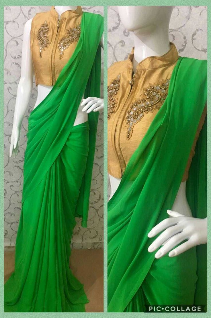 Pure Georgette sarees with readymade blouse