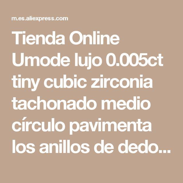 Tienda Online Umode lujo 0.005ct tiny cubic zirconia tachonado medio círculo pavimenta los anillos de dedo ur0022   Aliexpress móvil