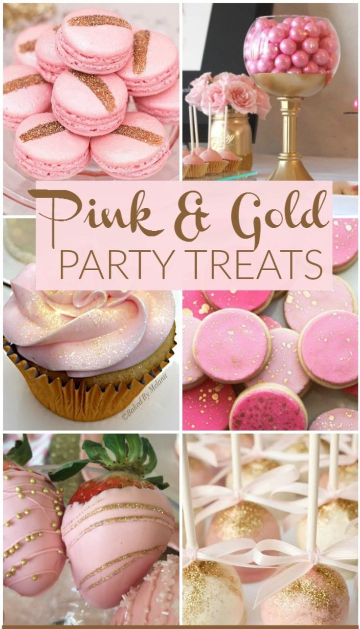 Pink & Gold Party Treats :http://sharingcelebrations.com/pink-gold-party-treats/