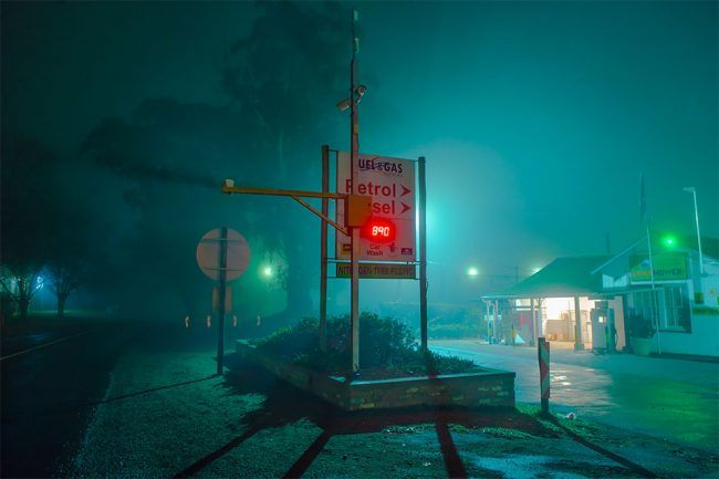 Dreamy Nighttime Country Side City Scenes Bathed In Neon By