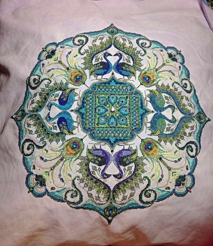 Finishe Sparkling Peacock Mandala   Cross Stitch ...