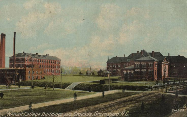1910 postcard of Normal School in Greensboro, NC; established as State Normal and Industrial School in 1891, became State Normal and Industrial College in 1897, North Carolina College for Women in 1919, Women's College of the University of North Carolina in 1932, and now University of North Carolina-Greensboro after 1963; source: @UNCGArchives