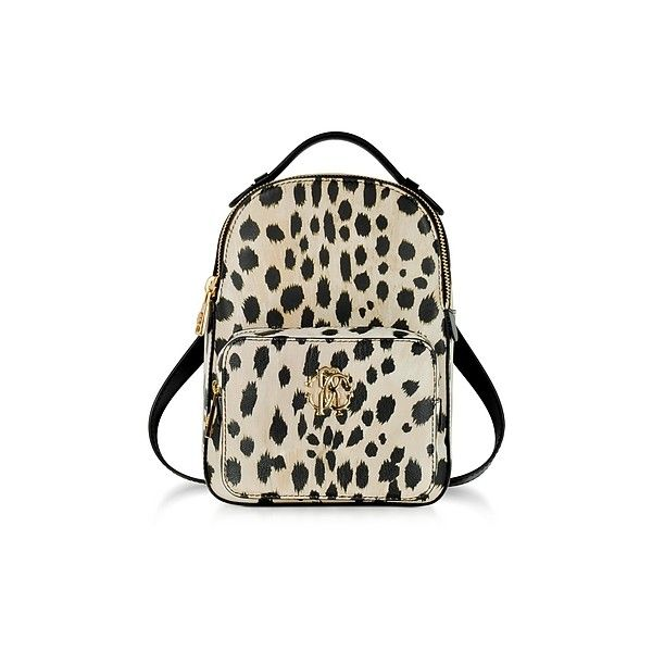 Roberto Cavalli Handbags Animal Printed leather Small Backpack (195 KWD) ❤ liked on Polyvore featuring bags, backpacks, beige, handbags, brown leather bag, beige backpack, brown bag, logo backpack and leather bags
