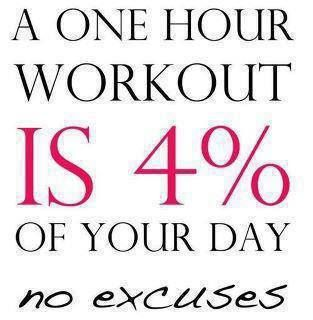 Workout Motivation:  A one hour workout is 4% of your day! No Excuses!
