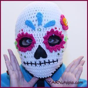 Free Crochet Halloween Mask Patterns : Sugar Skull Ski Mask Halloween traditions, Easy crochet ...