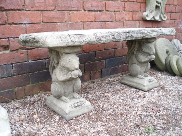 """Reconstituted Stone Garden Squirrel Bench. This item is for COLLECTION ONLY from our premises near Audlem, Cheshire. The Bench is approx. 20"""" high and 48"""" long. Manufactured by ourselves using crushed limestone and is gu aranteed frostproof. 