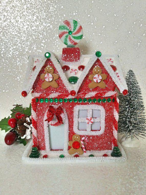 Christmas Glitter House, Gingerbread House, Putz House, Christmas