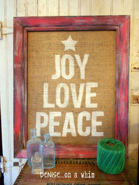 Painted Christmas sign on burlap with a festive red frame   Denise... On a Whim