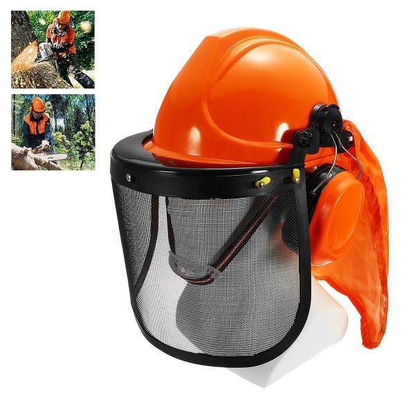 Forestry Safety Helmet with Ear Defenders Mesh Visor Earmuffs Face Shield Protection
