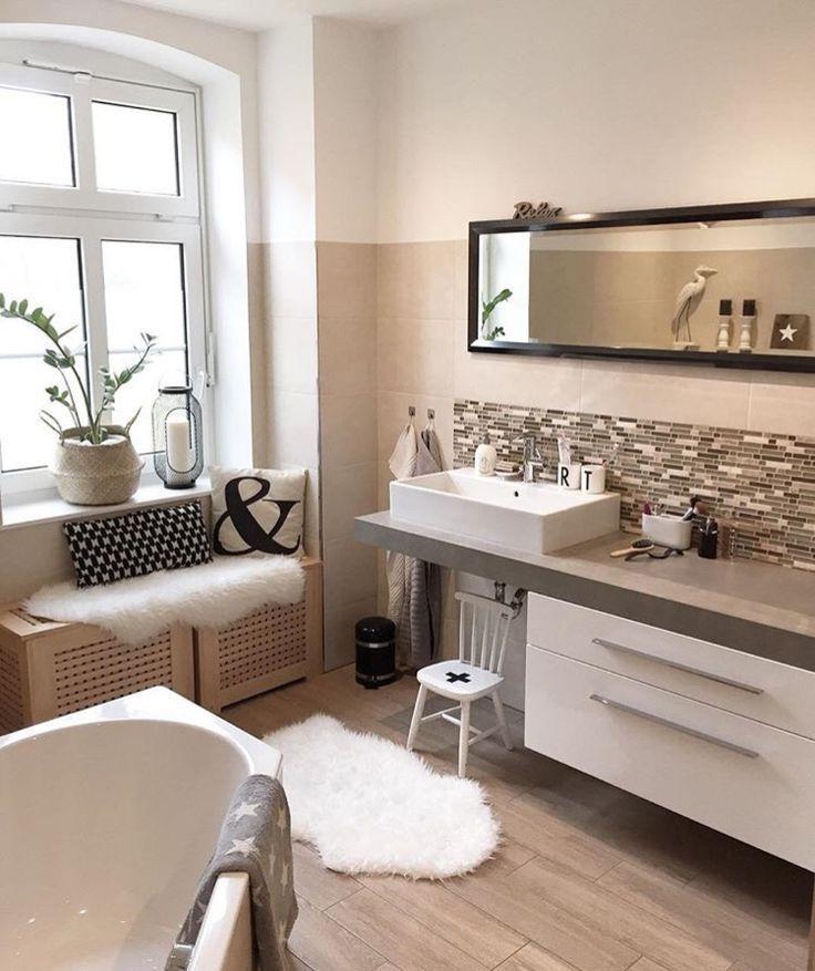 Badezimmer, Waschtisch, Waschbecken, Bad, Fliesen, Holzoptik ...