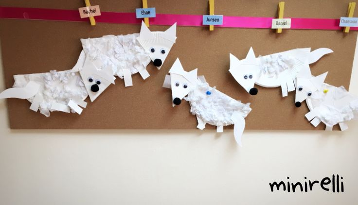 I love arctic foxes!  They are so cute, so are these adorable handmade arctic foxes! You may need: Paper plates White tissue paper Googly eyes Black Pom poms PVA glue  Cut a paper plate i…