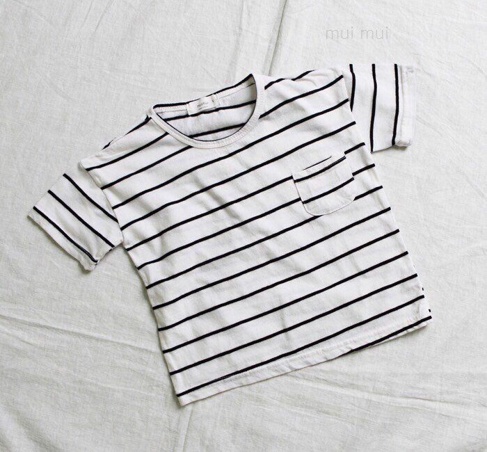 Kids Boys Girls Simple Striped Top T-shirt White Black /24 Mon and Up #Unbranded