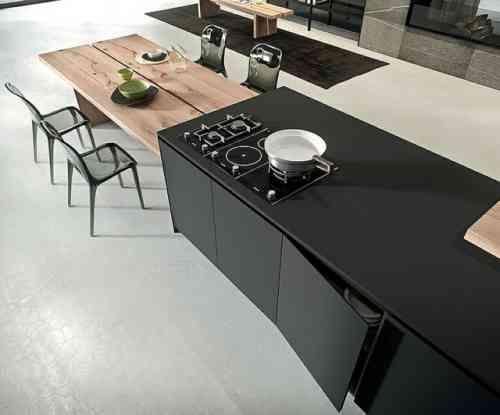cuisine contemporaine Arrital avec ilot et table