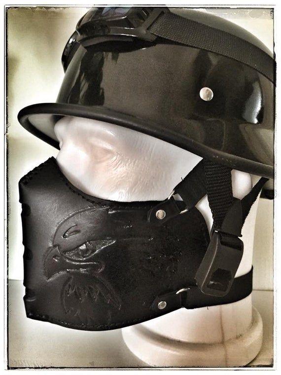 Leder Biker Maske Ledermaske Leder Halb Face Maske Cafe Etsy Riding Helmets Boots Biker Boot