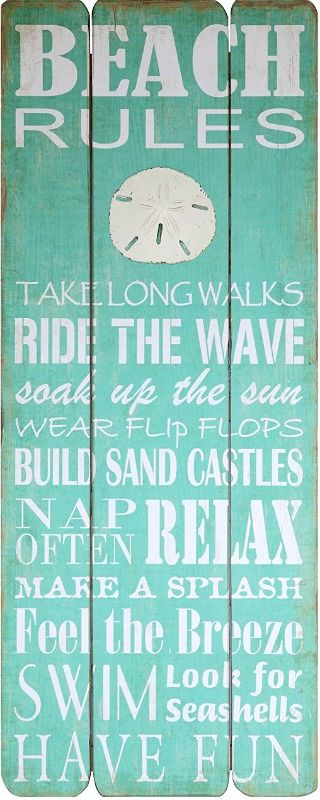 Beach Rules Wood Sign: http://www.completely-coastal.com/2016/08/beach-rules-wall-decor-signs-prints.html Beach Rules in Ocean-y Turquoise.