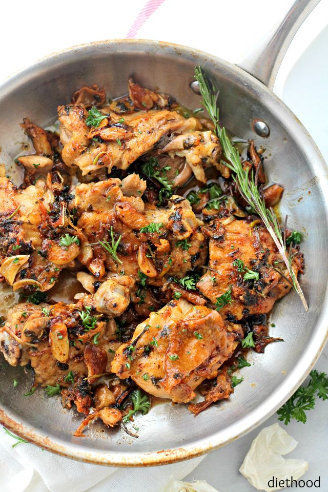 Pan-Seared Chicken Thighs prepared with an amazing garlic sauce.