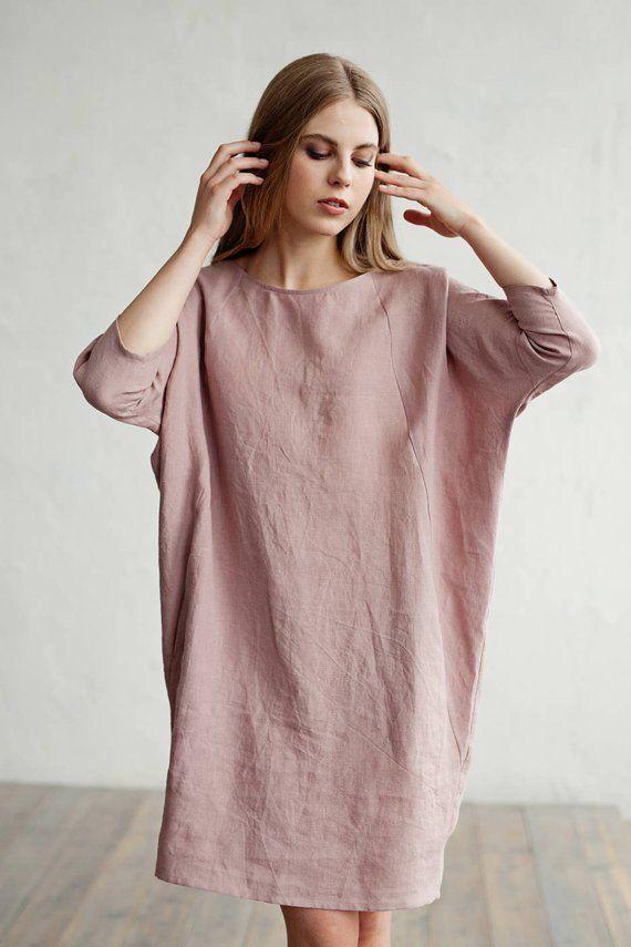 7904e7174f Loose-fit linen dress ARUBA. Knee length