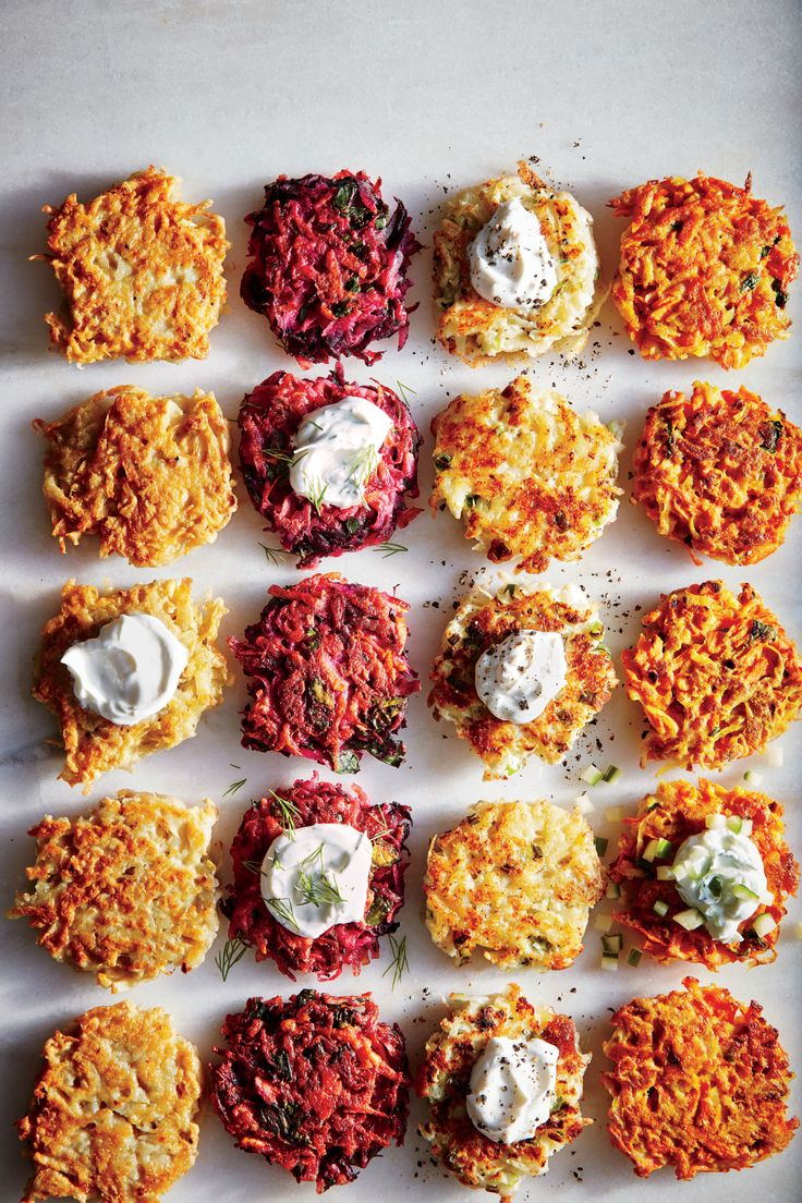 No Hanukkah celebration is complete without latkes. Go classic potato for the first night, and then try borscht-inspired beet, cheesy cauliflower and Gruyère, and earthy-sweet carrot and curry variations on the other nights. The trick to crispy cakes with less oil is to start with a very dry grated potato mixture: Drain well, and then squeeze in a clean kitchen towel. The frying oil may get too hot during successive batches; remove pan from heat for a minute or two, and lower the…