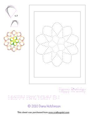 """Flower Pattern on Craftsuprint designed by Diana Hutchinson - A stich (or prick) pattern to fit either an A6 or 5""""x7"""" (127x178mm) card. - Now available for download!"""