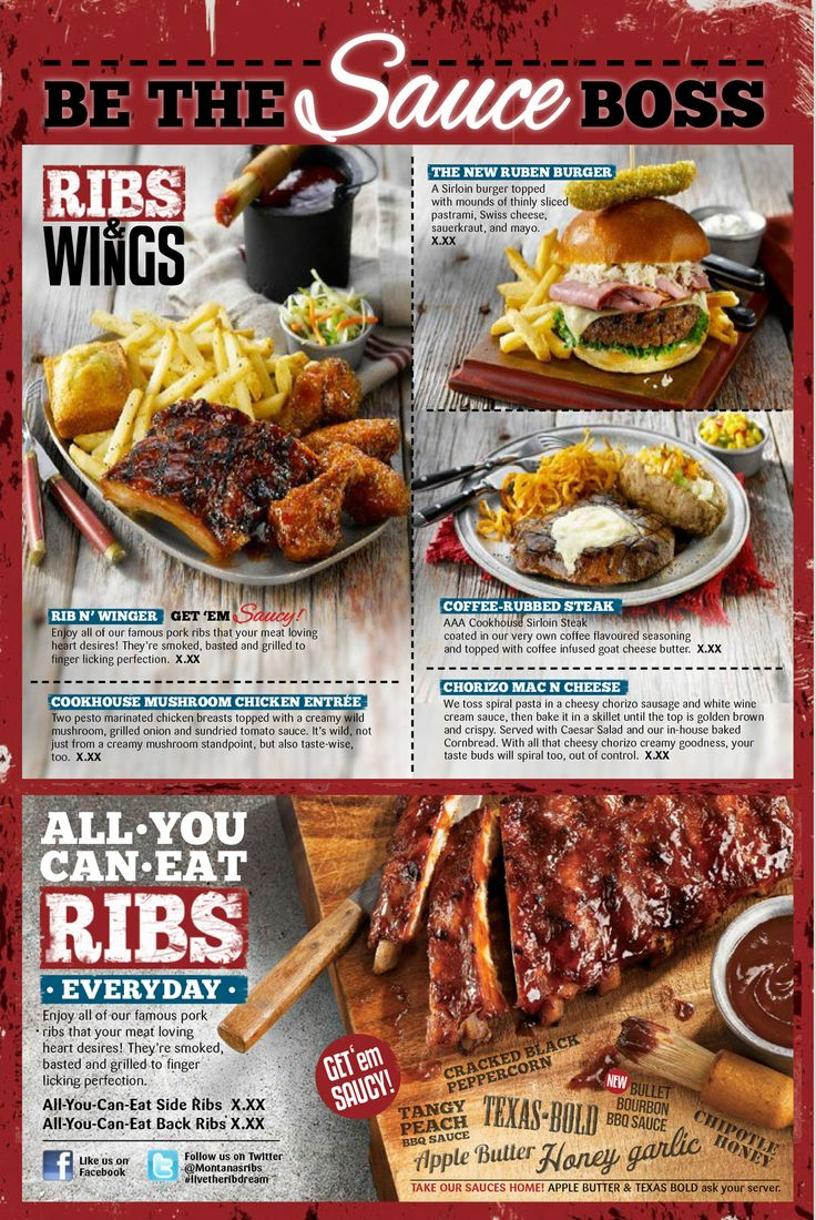 Montana's Rib Promotion Menu Spread