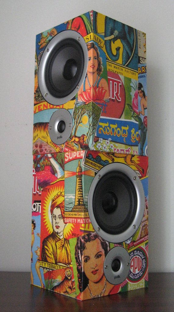 "Great looking speakers. I don't think these will work in our place but I I am pinning them in hopes someone can use them.    New Polk Audio high performance two-way bookshelf loudspeakers with vintage Indian/Hindu advertisements decoupaged on all sides. The colorful ads feature lotus flowers, tiger, lion, elephant, Budda, Taj Mahal, etc. All of us music lovers need a set of high quality speakers so why not make them fun to look at and a neat conversation piece?    10 5/8"" H x 7"" W x 6 1/2"" D…"