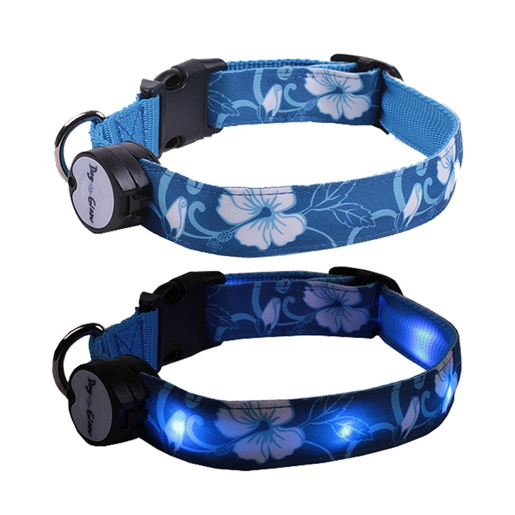 awesome idea for those dark night walks Hawaiian Collar  by Dog-e-Glow // Keep your canine visible
