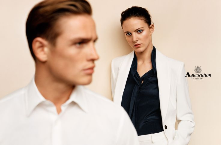 Models Eliza Cummings and Patrick O'Donnell in the Aquascutum Spring/Summer 2015…