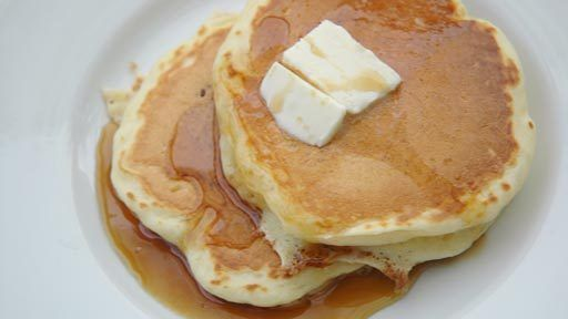 Mile-High Pancakes Recipe Text | High altitude pancakes | vegan: make with almond milk and flax seed supplement for eggs.
