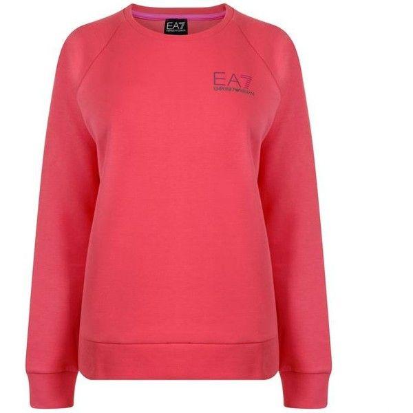 Ea7 Ventus Crew Sweatshirt ($125) ❤ liked on Polyvore featuring tops, hoodies, sweatshirts, coral, crew-neck sweatshirts, red crewneck sweatshirt, crew top, red long sleeve top and red sweatshirt