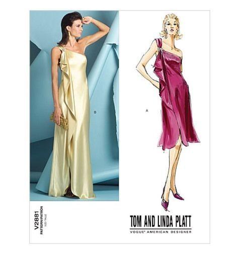 VOGUE Sew Pattern 2881 Tom Linda Platt Grecian Goddess Bias Draped ...