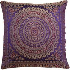 "Purple Cushion Covers Antique Style Mandala Banarasi Banarsi Indian 15"" 38cm"