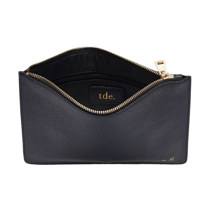 Black Pebbled Leather Pouch | The Daily Edited
