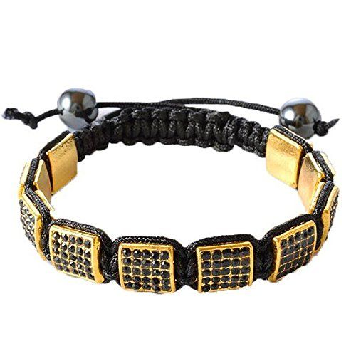 """Black CZ Yellow Gold Tone Macrame Beaded Square Beads Bracelet. """"Yellow Square Bead Bracelet"""" by My Daily Styles. Material: Beads, Black Simulated Onyx, CZ. Length: Adjustable (Approx. 7.50in - 9.00in). Width: Approx. 0.45in. Origin: Imported."""