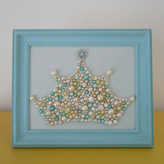 Mosaic art. Princess Crown Wall Art. Snowflake.Pastel blue frame.Framed art. Pearl crown. Enamel rhinestone brooch.Glitter sparkle.