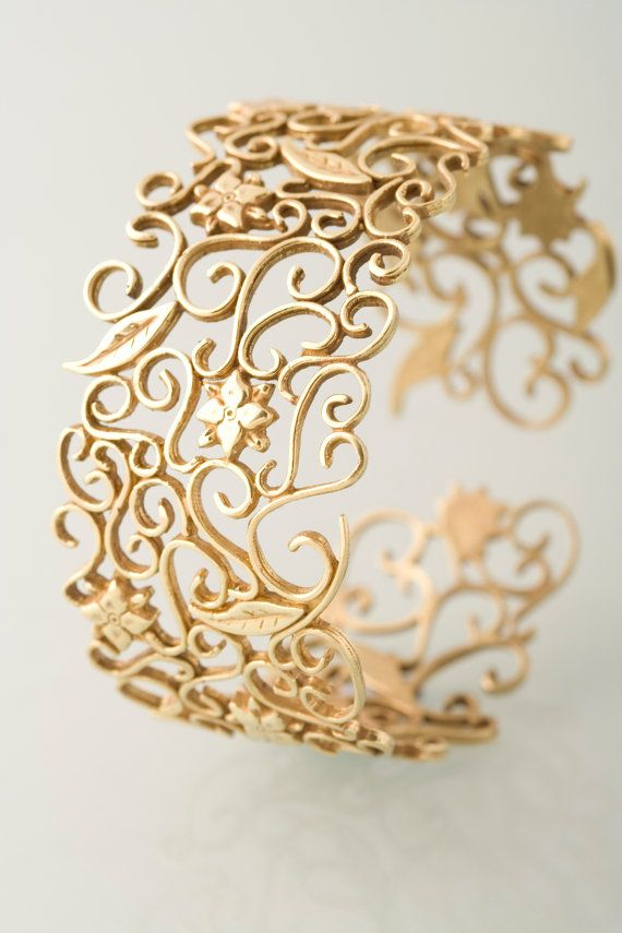 Lace and flowers upper arm braclet - Gold plated, bridesmaid jewellery
