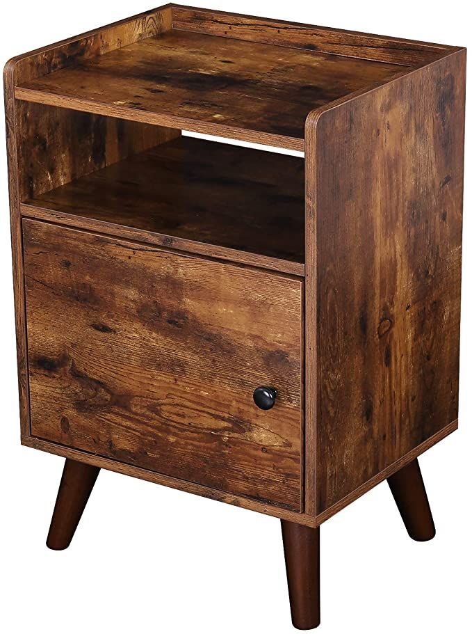 Amazon Com Hoobro End Table 3 Tier Nightstand With Door Side Table For Small Spaces Wood Loo In 2020 Table For Small Space Leather Living Room Furniture Side Table