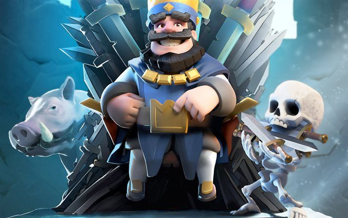 Blue King, characters, skeleton, RTS, Clash Royale