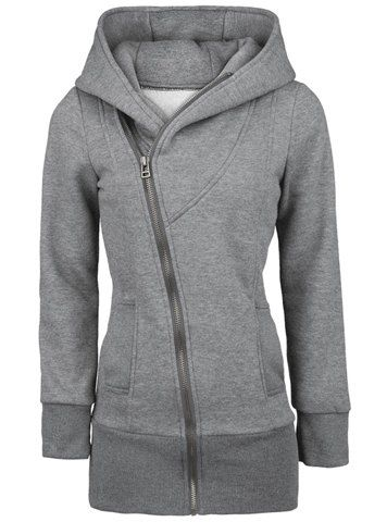Casual Zipper Solid Color Plus Size Long Sleeves Hoodie For WomenSweatshirts & Hoodies | RoseGal.com