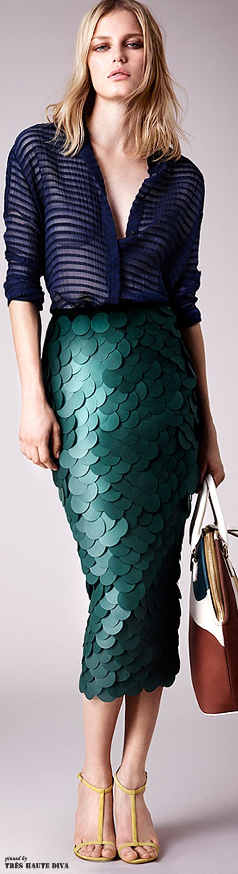 Burberry Prorsum Resort 2015  Love the top.  The skirt needs to be above the knee, right now it looks like it belongs floating on the surf at the beach.