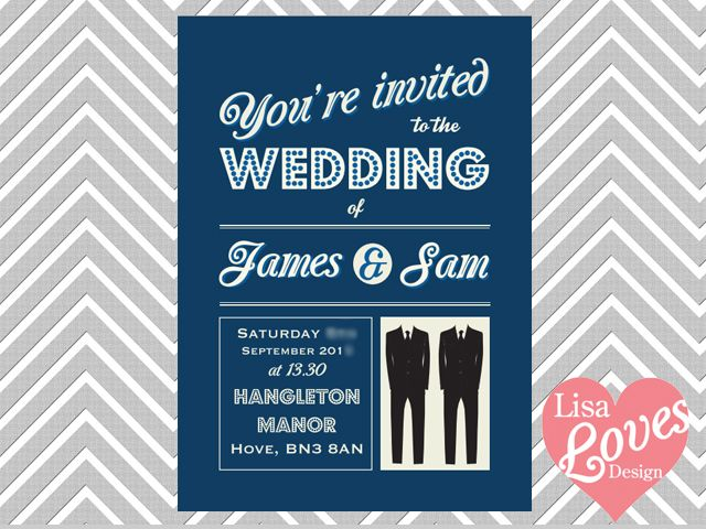 Smart Suits Gay Wedding Invitation By Lisa Loves Design  Www.lisalovesdesign.co.uk
