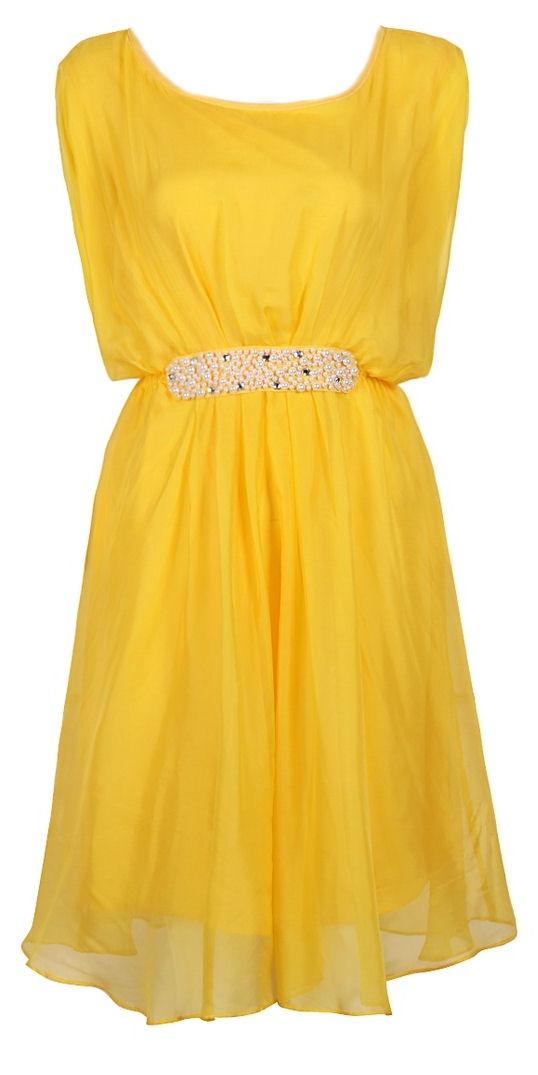 Yellow Silk + Pearls Dress <3 Love!