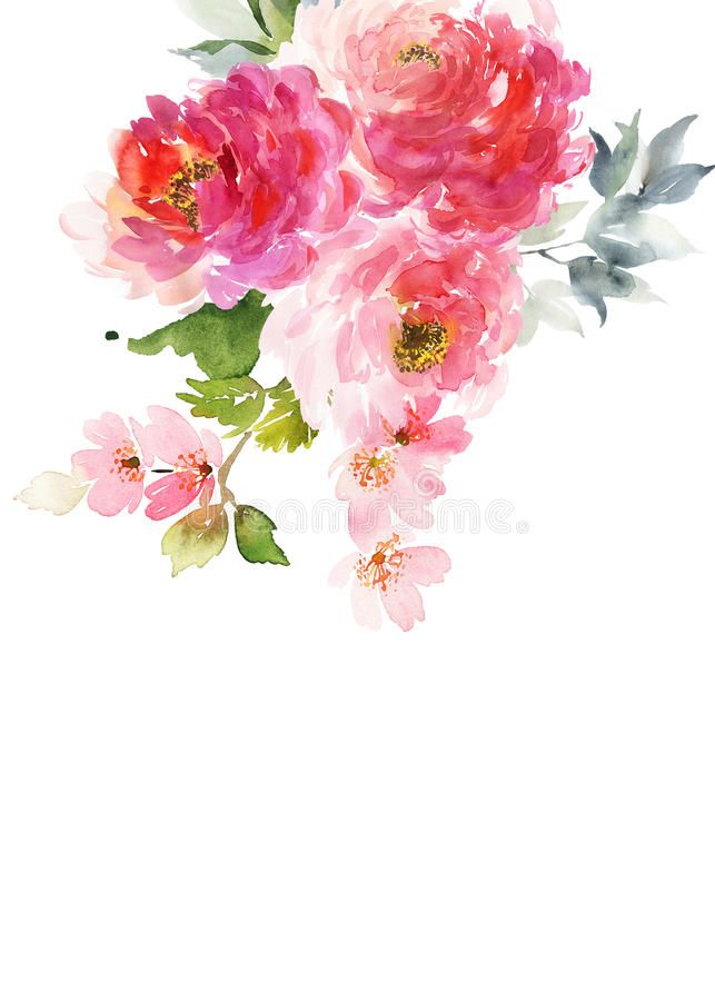 Download Greeting Card With Watercolor Flowers Stock Illustration