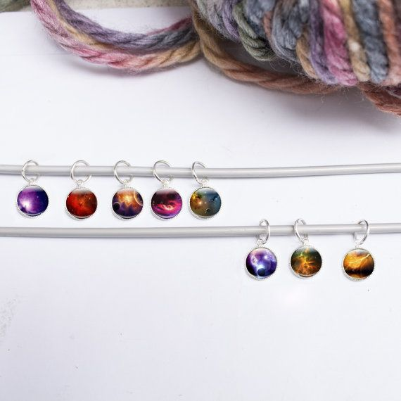 8 Stitch Markers Space Stitch Markers Knitting by GlassCharmed