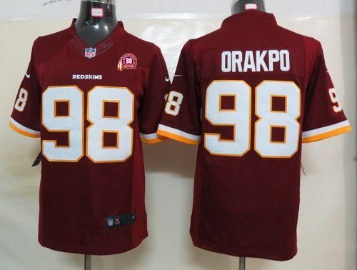 ... Nike Redskins 98 Brian Orakpo Black With 80TH Patch Mens Embroidered  NFL Impact Limited Jersey Cheap 2012 Nike Washington ... 725b2829f