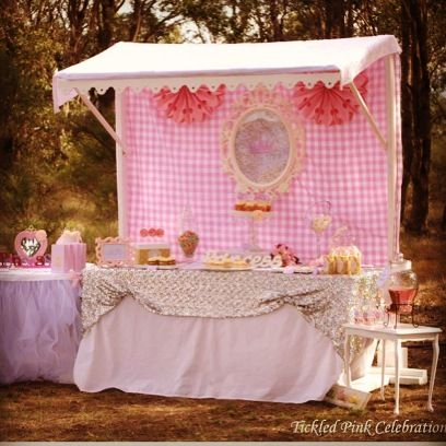 Princess Party styling by Tickled Pink Celebrations. Beautiful soft pink and white colours with a silver sequin table cloth that sparkles - a little girls dream!