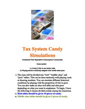 This is a fun way to have money change hands and simulate the basics of graduated/ Consumption/ Progressive taxes, Regressive taxes, and Proportional or Flat taxes.  The last step is a simple simulation of the economic system of Communism.  Included are also instructions on how to change proportions of rich/ middle class/ and poor in order to show different historical conditions and why Communism was more popular in different places than others.