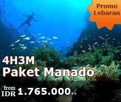 Manado Package for Lebaran Holiday 4D3N. Visit some of the highlights of Manado including Bunaken Island, Tondano Lake, Minahasa, Pagoda Tower, Linow Lake, etc. Contact +62 21-231 6306 for more information.