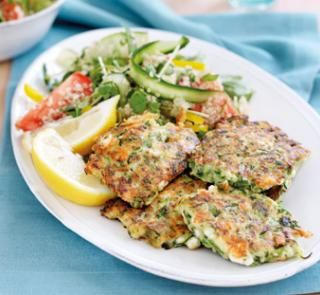 Zucchini and feta fritters with quinoa salad | Australian Healthy Food Guide