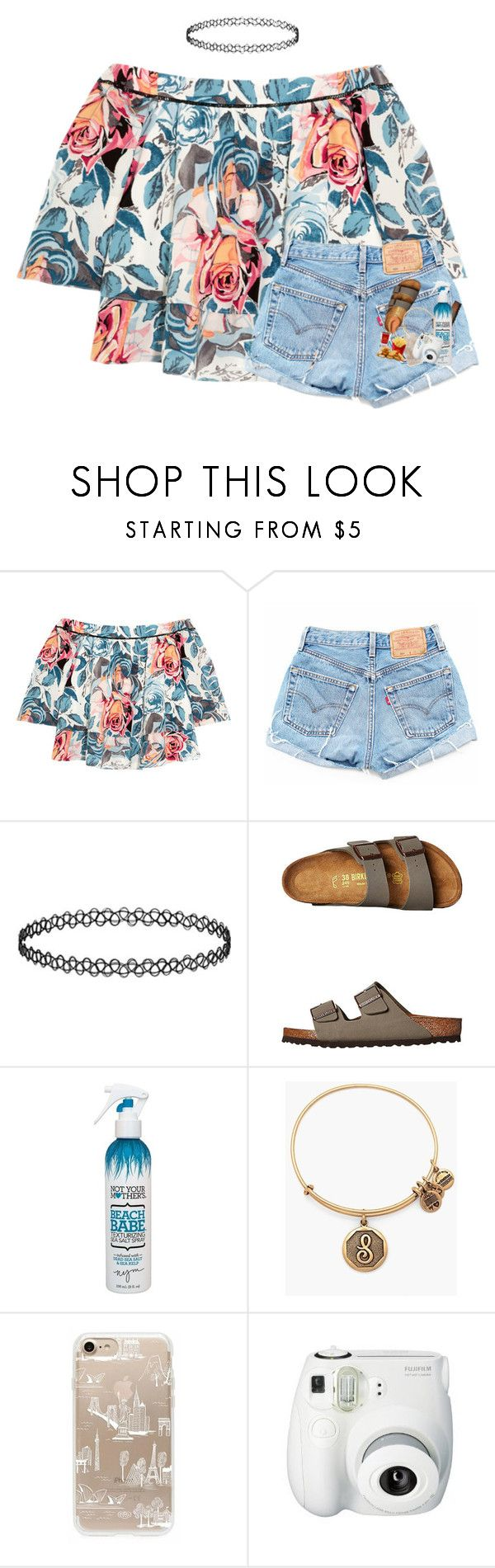 """:("" by morgankailah ❤ liked on Polyvore featuring Elizabeth and James, Birkenstock, Not Your Mother's, Alex and Ani, Rifle Paper Co and Fujifilm"